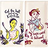 Blue Q dish towel bundle of 2 - My safe word is takeout AND Get out of my Kitchen
