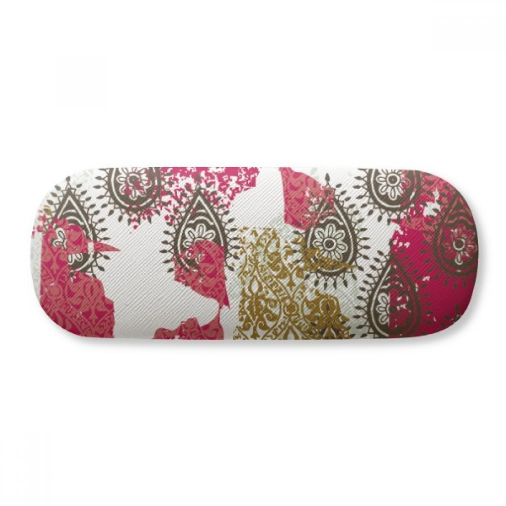 Red Yellow Flower Leaf Abstract Pattern Glasses Case Eyeglasses Clam Shell Holder Storage Box