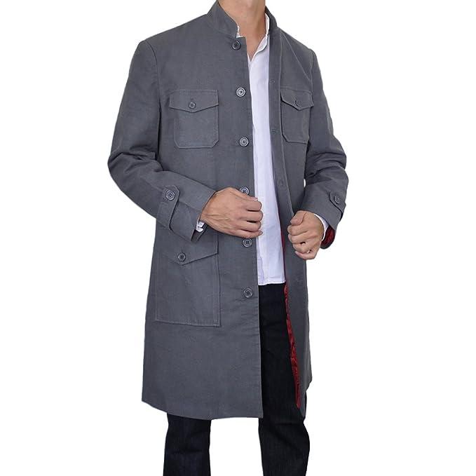 Sinologie - Abrigo - cuello mao - para hombre gris Medium : Amazon.es: Ropa y accesorios