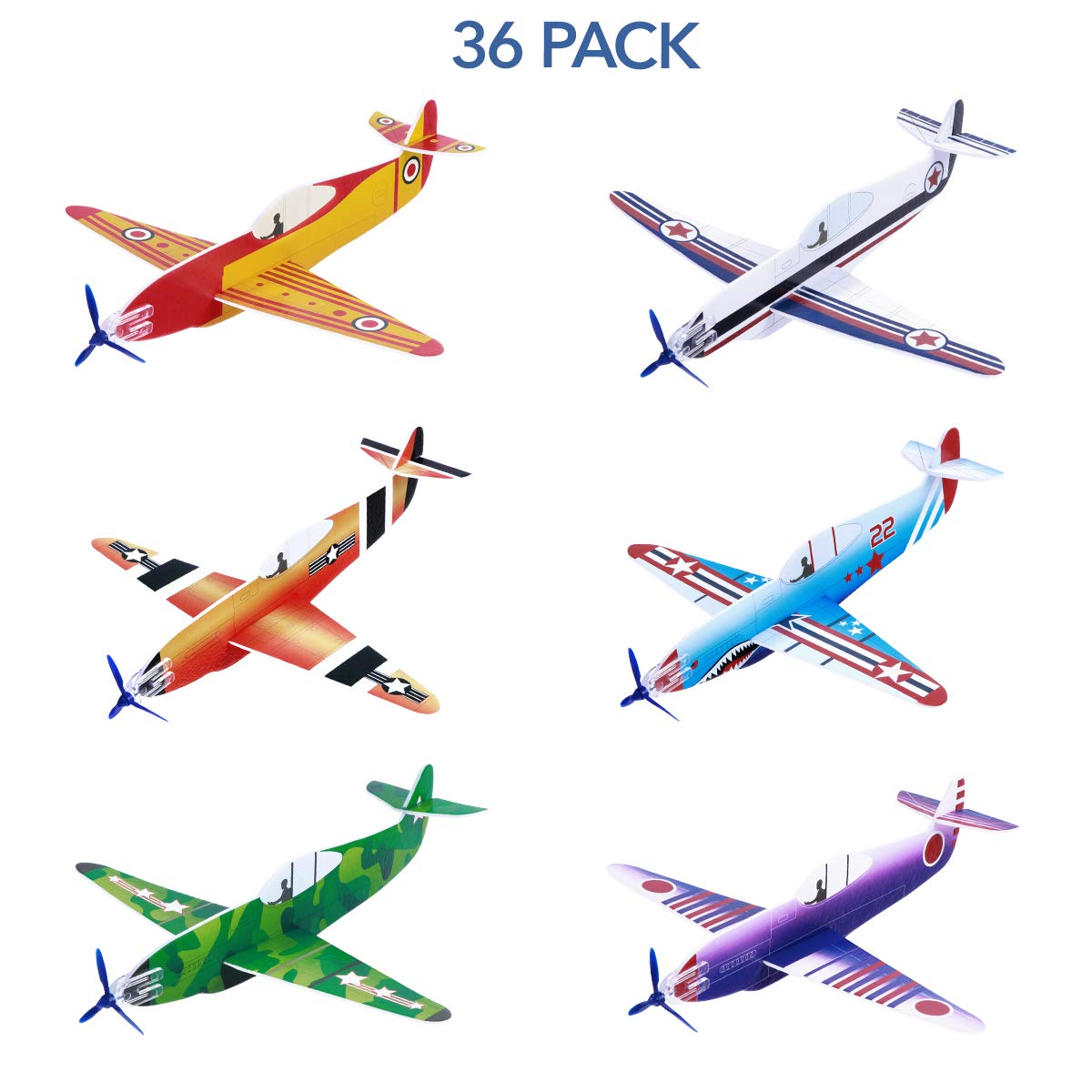 Toyvian Glider Planes Flying Airplane Gliders Toys Foam Plane Models 36 Pack 8 Inch Party Bag Fillers, Carnival Prizes, Outdoor Games for Kids Boys Girls