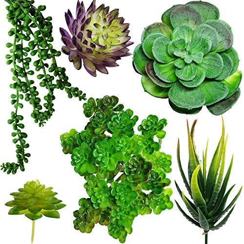Artificial Succulents – Pack of 6 Fake Faux Succulent Plants, Assorted Decorative Green Hanging House Unpotted Plant, Plantas Artificiales, Mini Flower Suculentas Arrangement Artificial Décor