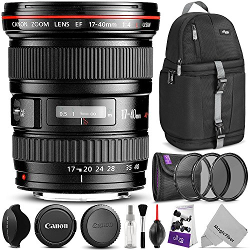 Canon EF 17-40mm F/4L USM Ultra Wide Angle Zoom Lens w/Advanced Photo and Travel Bundle - Includes: Altura Photo Sling Backpack, UV-CPL-ND4, Camera Cleaning Kit (Cheap Ultra Wide Angle Lens For Canon)