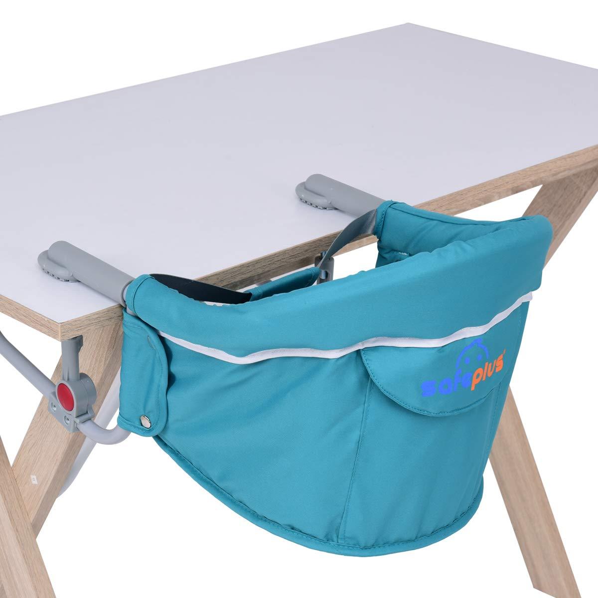 Schnell installierbarer Kinderstuhl f/ür Kleinkinder /über 6 Monate GOPLUS Faltbarer Baby Tischsitz Blau Tragbarer /& stabiler Baby Hochstuhl mit engen Clips /& waschbarem Stoff