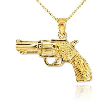 Dainty 14k yellow gold gun charm revolver pistol pendant necklace dainty 14k yellow gold gun charm revolver pistol pendant necklace 16 amazon mozeypictures Images