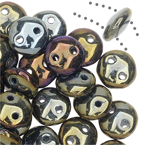 (CzechMates Glass 2-Hole Round Flat Lentil Beads 6mm - Brown Iris (1 Strand))