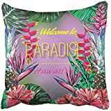 Throw Pillow Cover Square 18x18 Inches Summer Paradise Hawaii Floral with Tropical Flowers Pineapples Hibiscus Bird of Palm Leaves Jungle Polyester Decor Hidden Zipper Print On Pillowcases