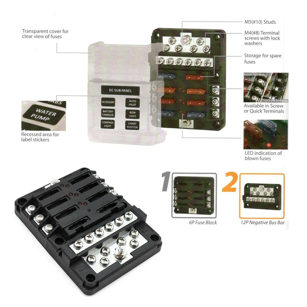 Amazon.com: Car Fuse Kit Car Boat Yacht DC 32V 6-Way ATP/ATC/ATO Blade Fuse  Box + 12P Negative Busba: Automotive