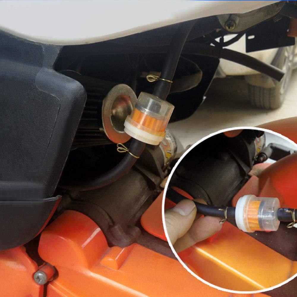 Globaldream Filtro De Combustible Universal 6 mm 7 mm 8 mm 9 mm 10 mm Para Motor Scooter Motocicleta Cortadoras De C/ésped 12 Piezas Filtro De Gasolina Con 25 Piezas Abrazadera De Manguera De Resorte