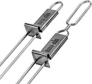 BBQ-Aid Premium Barbecue Skewers - Double Pronged, Quick Release Stainless Steel - Shish Kabob, Shrimp, Meat, Chicken, Veggies & More (2)
