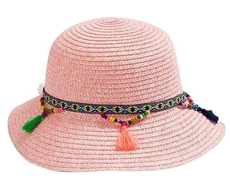 Chapeau rose pour bébé, chapeau de paille de plage pour fille, chapeau de  plage 07a718f4426