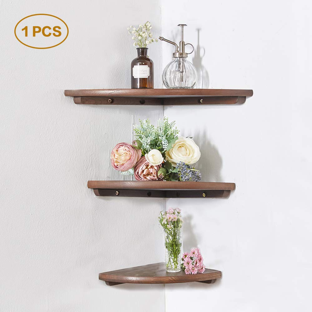 INMAN Wooden Corner Shelf, 1 Pcs Round End Hanging Wall Mount Floating Shelves Storage Shelving Table Bookshelf Drawers Display Racks Bedroom Office Home Décor Accents (Walnut, 12'')