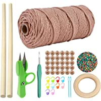 OMAY Macrame Cord 1-4mm x100m,Macrame Koord, Natual Macrame Katoen Touw Gevlochten Touwtje DIY Craft Cord,voor…