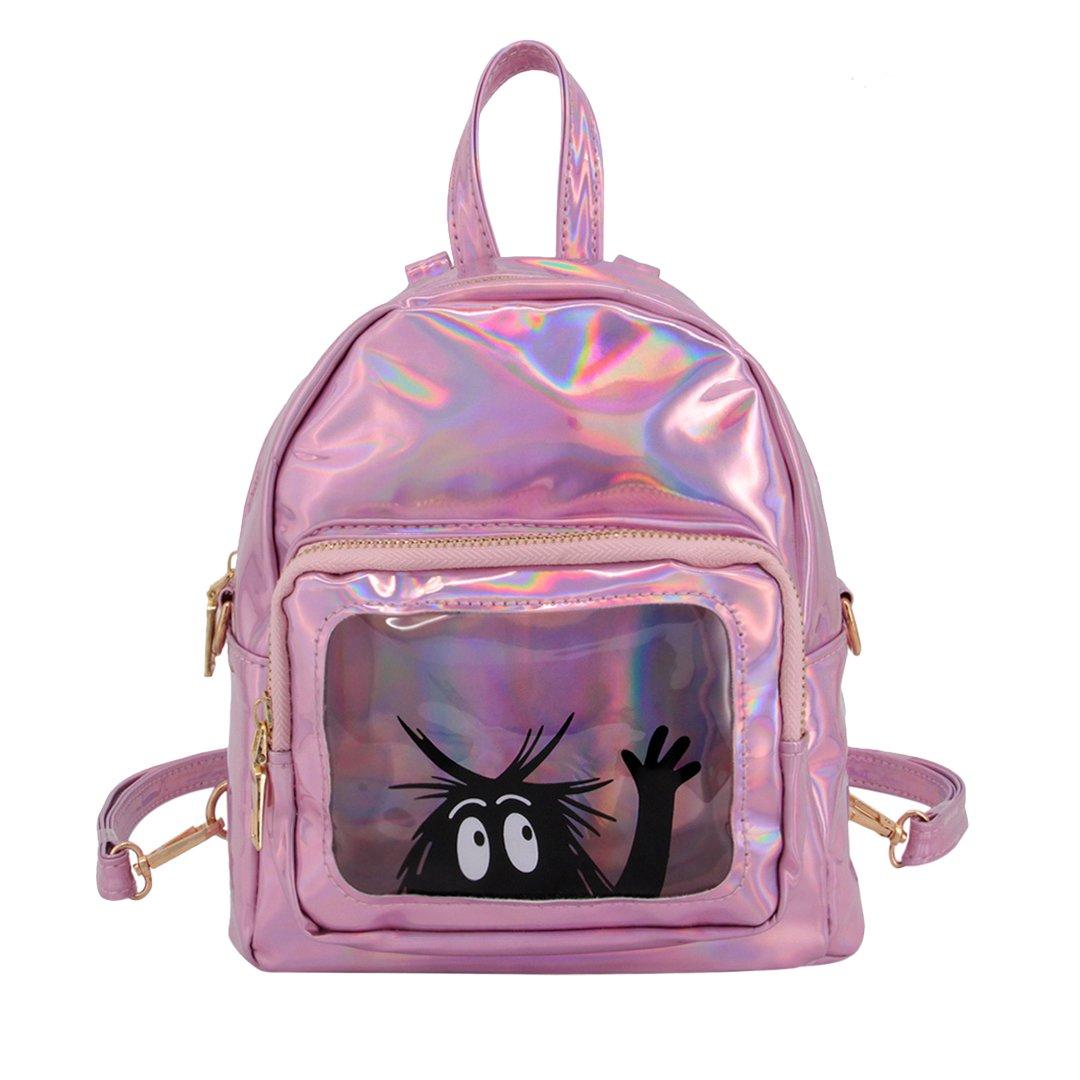 Candice Women Mini Hologram Holographic PU Shoulder Bag Satchel Backpack School Bag(Pink)