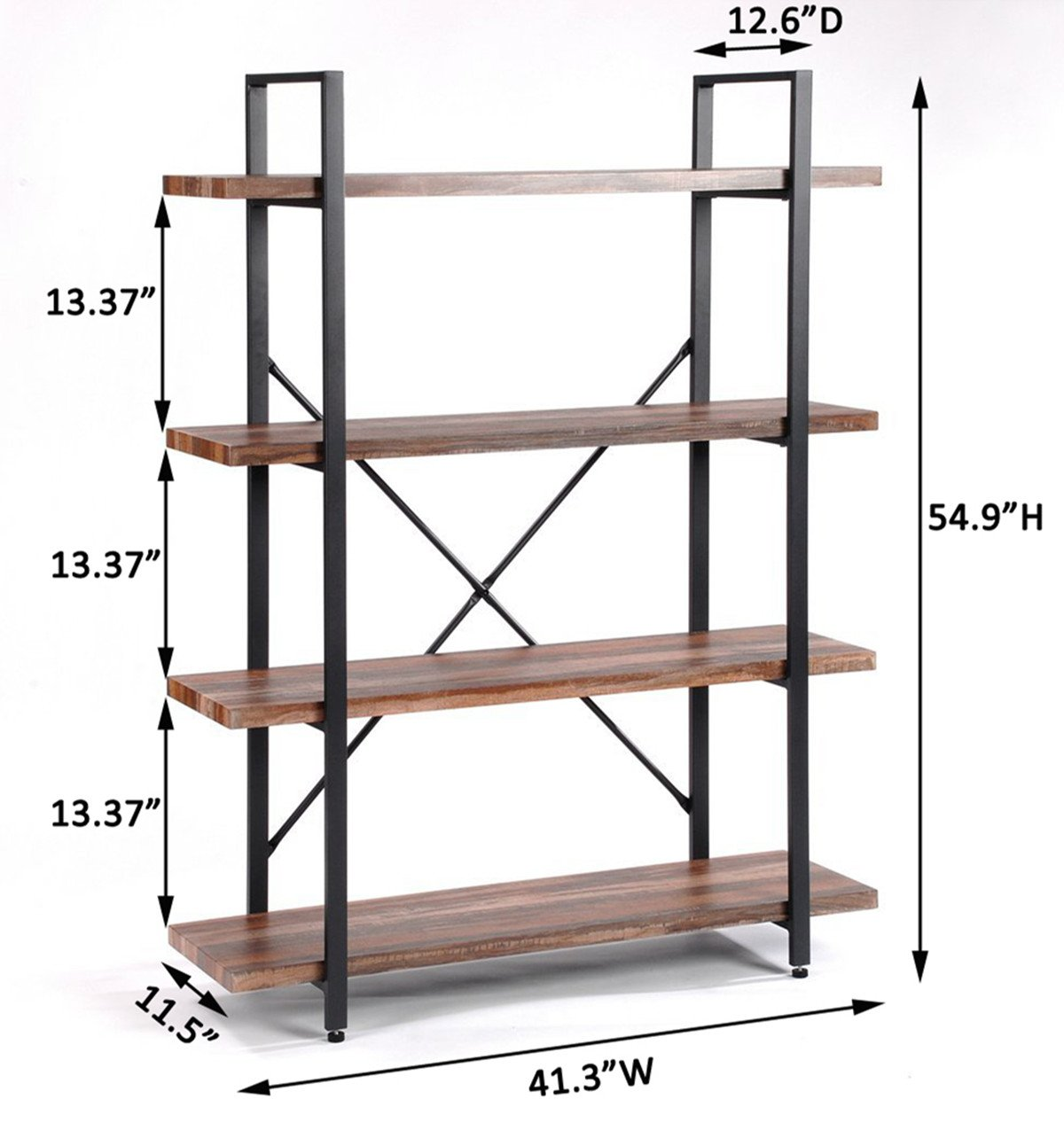 O&K Furniture 4 Tier Bookcases and Book Shelves, Industrial Vintage Metal and Wood Bookcases Furniture by O&K Furniture (Image #2)