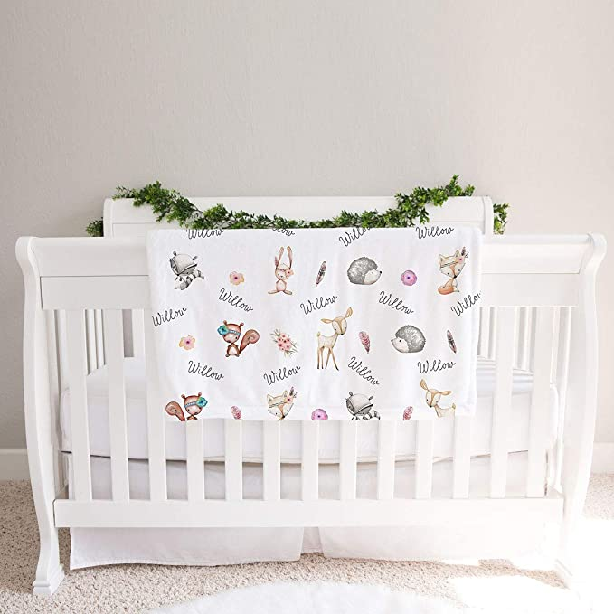 Personalized-Baby-Blanket-Boys-Forest-Animals-Fox-Bear-Nature-Quilts-Stroller-Receiving-Swaddling-Minky-Boys-Crib-Newborn-Toddler-Gift