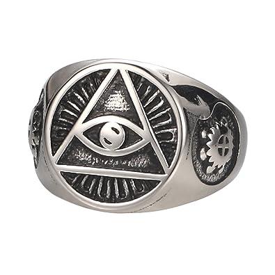 Zoro Mens Stainless Steel Ring Illuminati The All Seeing Eye