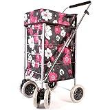 Alexander Graham Einkaufstrolley - 6 Große Räder Herausnehmbare Tasche - Schwarz mit Rosa + Weißen Blüten