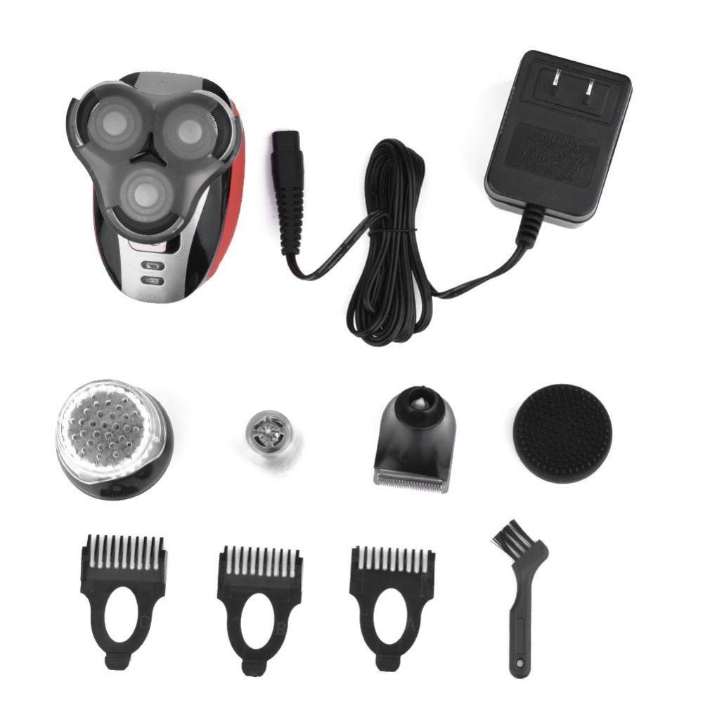 Electric Shaver Razor, 5 in 1 Rechargeable Hair Beard Trimmer Shaving Machine Three Head Shaver, Nose Ear Trimmer and Facial Cleaning Brush Men's Grooming Kit (Red) Semme