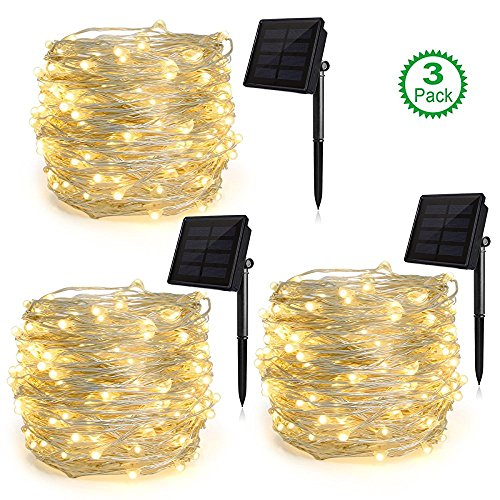 Bubble Draped - Heepow Solar String Lights Pack 3 (200LED 8 Modes 72ft), 3-Strand Copper Wire Lights Auto On/Off Indoor/Outdoor String Lights for Christmas Halloween Carnival Party Decorations (Warm White)