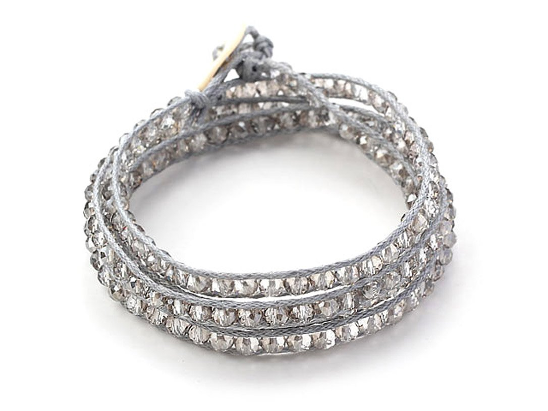 Grey Clear Crystal Wrap Bracelet Grey Color Handmade Fashion Style Bangle