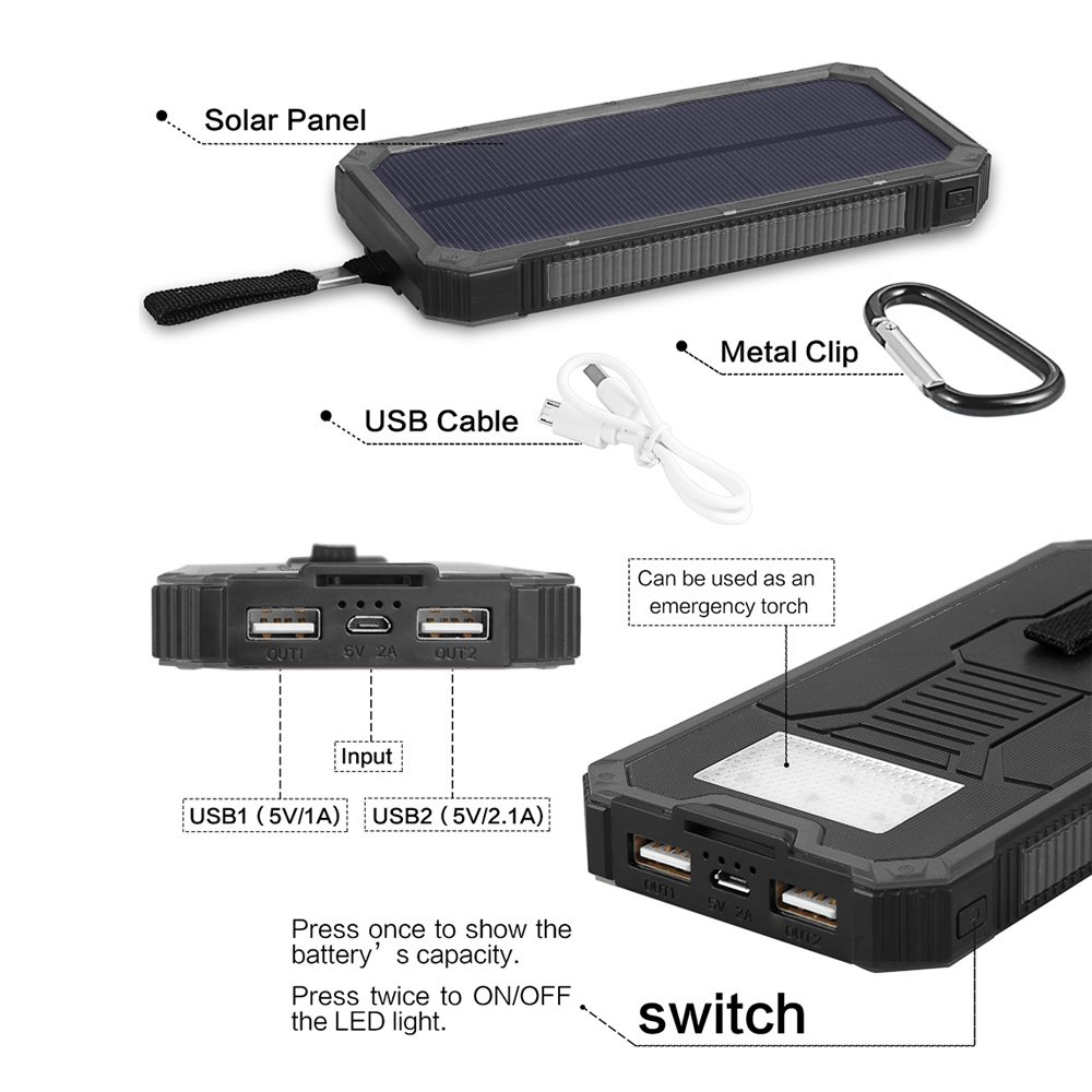 Solar Chargers 15000mah Soluser Portable Dual Usb Charger Circuit Cellphone Using Bike Battery Fast External Pack Phone Power Bank With 6led
