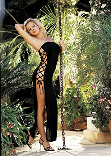 Slinky, Sexy Dress with Lace-up Sides (One Size, Black) (Stripper Costumes)