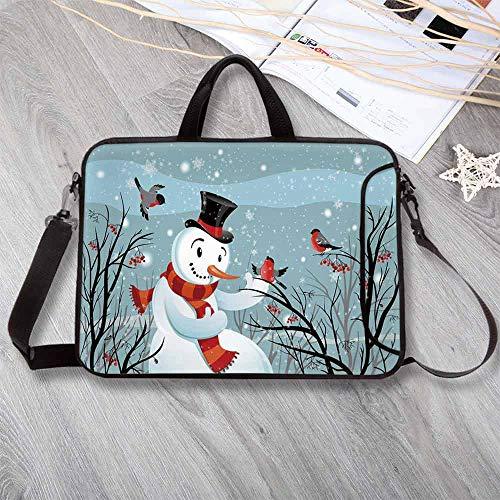 "Christmas Wear-Resisting Neoprene Laptop Bag,Snowy Winter Tree Branches Berries Bullfinch Birds Snowman Hat Decorative Laptop Bag for Laptop Tablet PC,12.6""L x 9.4""W x 0.8""H"