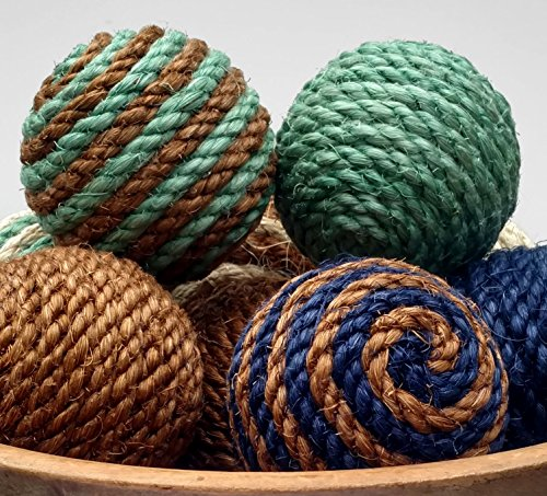 Small Sisal Rope Decorative Balls, Ornament, Natural or Dyed Sisal, Nautical Home Decor (Ball Ornament Raspberry)