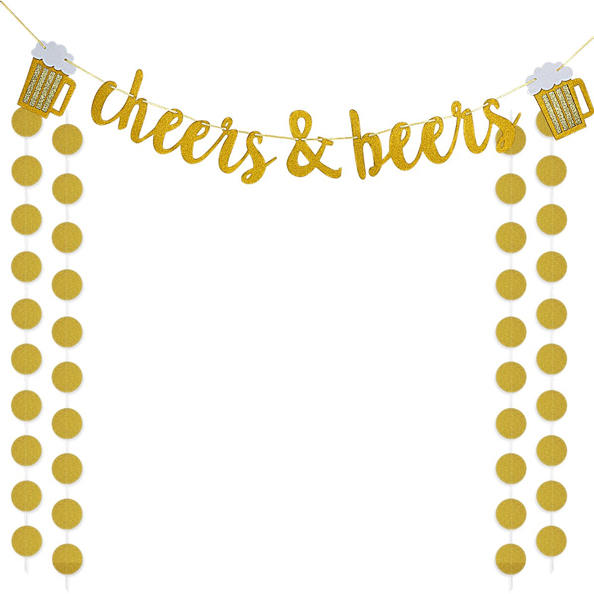 Gold Glittery Cheers & Beers Banner and Gold Glittery Circle Dots Garland (25Pcs Circle Dots),for Bachelorette Baby Shower Graduation Wedding Hawaii Birthday Party Decoration Supplies by LeeSky