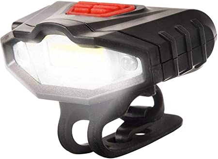 Inditradition Bicycle Super Bright COB Headlight | 45 Lumens 3 Mode Flash with Red Warning Indicators (Rechargeable)