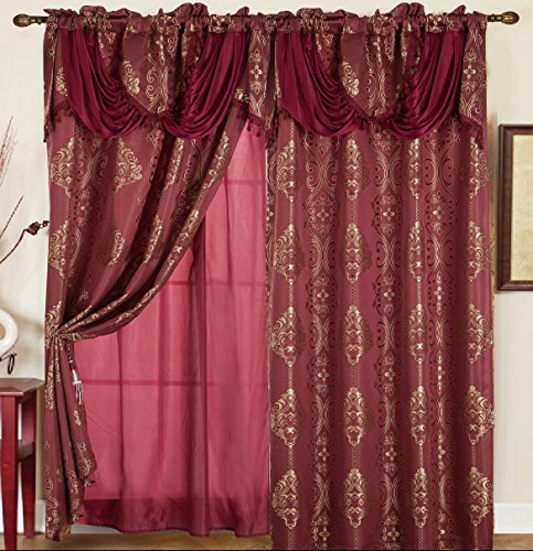 (RT Designers Collection Rosetta Jacquard 54 x 84 in. Curtain Panel w/ Attached 18