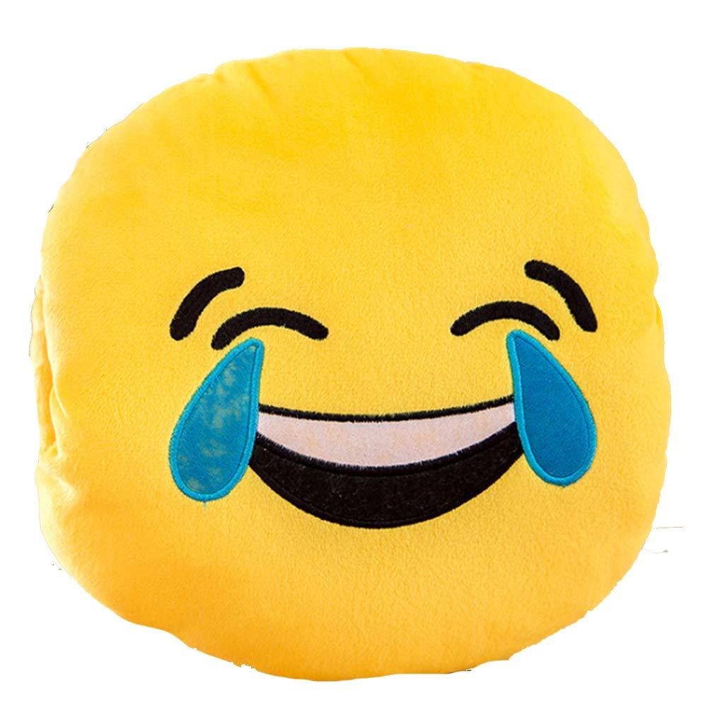 Quemu Co.,Ltd. Emoji Pillow - Emoticon Round Cushion Stuffed Plush Warm Hands Soft Pillow 13'x13' Yellow (Heart Eye) Ltd. Emoji Pillow - Emoticon Round Cushion Stuffed Plush Warm Hands Soft Pillow 13x13 Yellow (Heart Eye)
