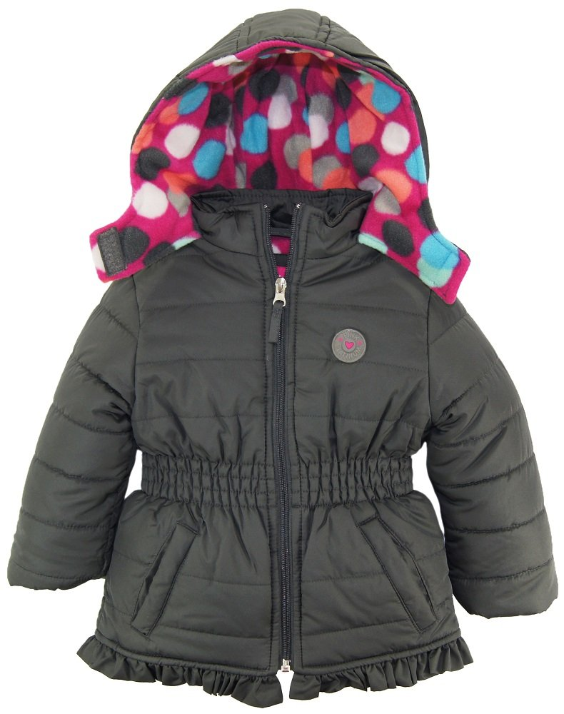Pink Platinum Little Girls' Colorful Big Polka Dots Lined Winter Puffer Jacket, Gray, 2T
