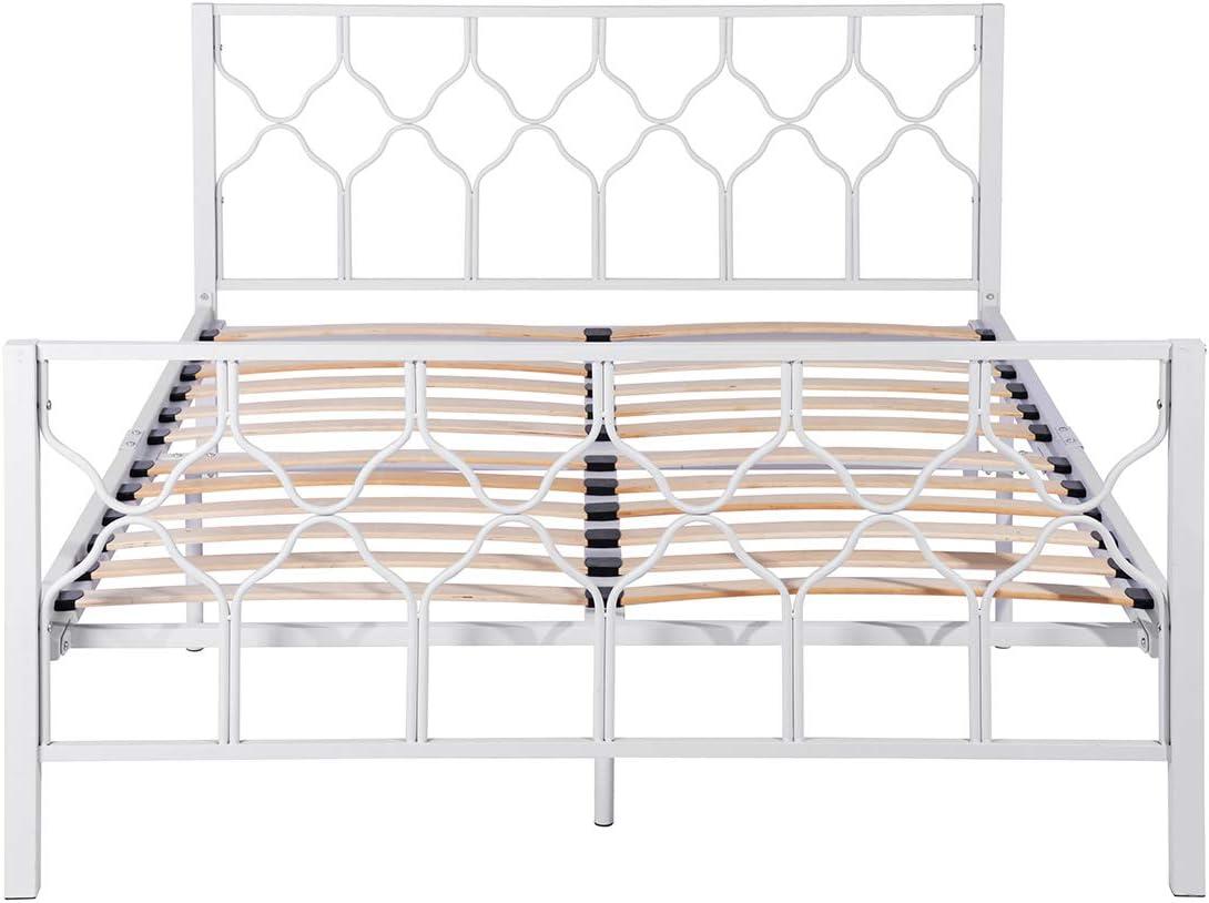 Aingoo Cama Doble Marco de Cama de Metal con Listones de Madera de Varios tamaños Desmontable Blanco 140 * 190 cm