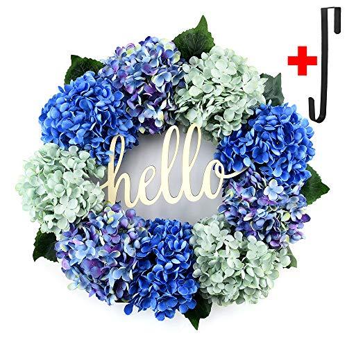 Hydrangea wreaths for front door,Outdoor summer wreaths for front door,Fall spring handmade Hello Wreath for Front Door,Farmhouse Wreath ,Rustic Wreath,Grapevine Wreath,Window Decoration (18 inches)