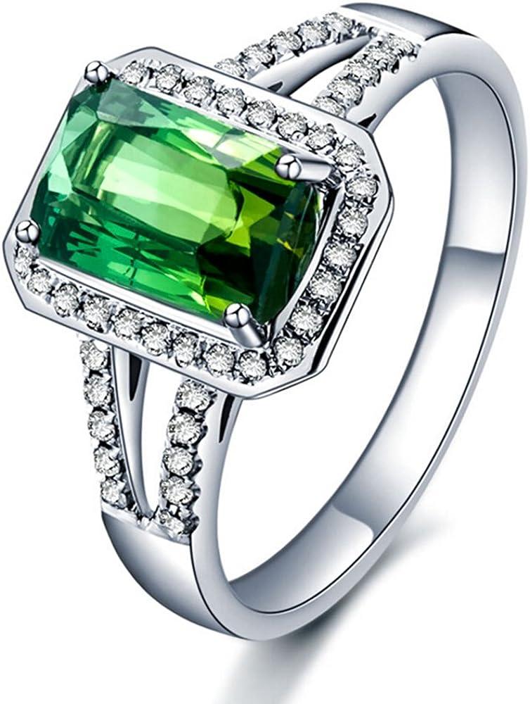 Verde Turmalina Esmeralda Piedra preciosa Diamante Sólido 14K Oro blanco Boda Compromiso Anillo para Mujer
