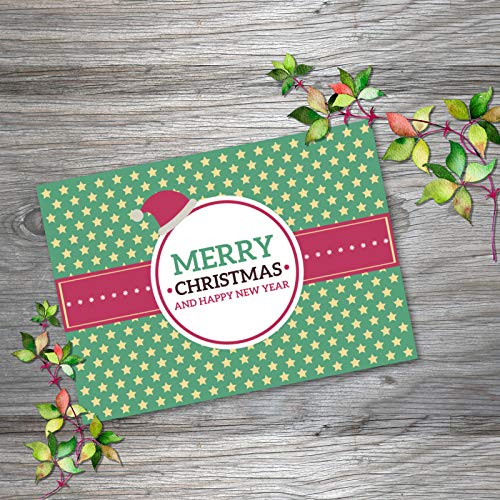 Merry Christmas & Happy New Year Greeting Card - Pack of 250 Flat Cards Bulk Box Set, Horizontal Orientation Printed Front Only Assorted for All Holidays Occasion with Envelope (5