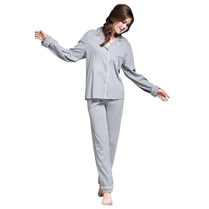Dorekim Mujer Pijamas Button-up Conjunto de ropa de dormir gris de manga larga con