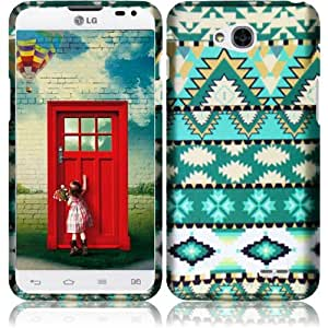 Aqua Green Tribal Aztec Design Shield Snap-On Cover Case + Atom LED Keychain Light for LG Optimus Exceed 2