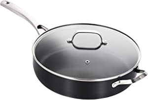 5 Qt Hard-Anodized Nonstick Jumbo Cooker with lid, Aluminum Nonstick Saute Pan, Stainless Steel Handle,