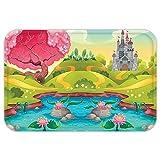 VROSELV Custom Door MatKidFantasy Landscape Countryside Castle Pink Tree Colorful Cartoon Playroom Nursery Decor Multicolor