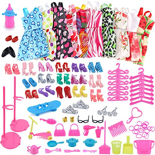 (AMOFINY 1Set Barbie Dress Up Clothes Lot Cheap Doll Accessories Handmade Clothes)