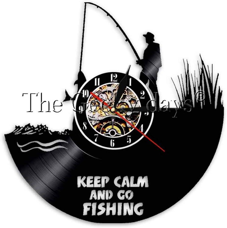 1 Keep Calm and Go Fishing Vinyl Record Reloj de pared Reloj de pared de pescador Decoración de la casa del artista Regalo del día del padre del pescador
