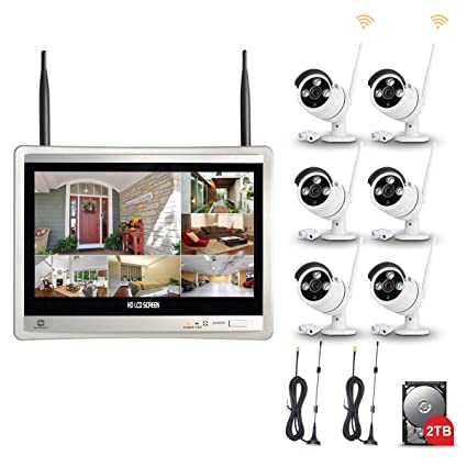 Wireless CCTV Systems GWSECU 1080P 8 Channel 12 5inch LCD Monitor with 6PCS  960P Outdoor Wireless Security Cameras and 2TB Hard Drive, Motion