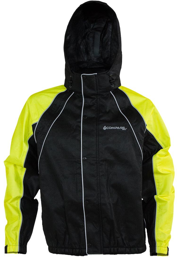 COMPASS RT23322-5510-3X Roadhog Reflective Riding Jacket, HV Lime/Black, 3X-Large