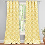 "yellow insulated grommet curtains - DriftAway Julianna Geometric Pattern Thermal Insulated Blackout/Room Darkening Grommet Unlined Window Curtains, Set of Two Panels, each 52""x84"" (Golden Yellow)"