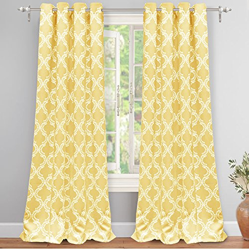 "DriftAway Julianna Geometric Pattern Thermal Insulated Blackout/Room Darkening Grommet Unlined Window Curtains, Set of Two Panels, each 52""x84"" (Yellow)"