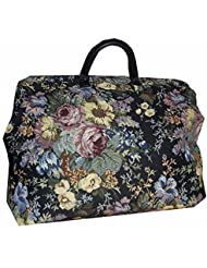 FlyingNeedleGallerys Black & Multicolored Floral Tapestry Carpet Bag