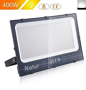 400W LED Foco Exterior de alto brillo,40000LM Impermeable IP66 Proyector Foco LED, Iluminación de Seguridad, 6000K Blanco Frío para Pared,Patio, Camino, Jardín [Clase de eficiencia energética A++]: Amazon.es: Iluminación