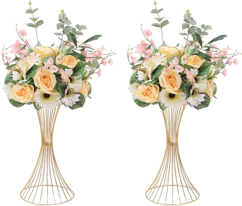 Sziqiqi 2 Piezas Soporte De Flores De Centro De Mesa para Boda, Florero de Plomo de Flores Artificiales, Jarrones Decoración para Celebraciones de Boda Partido ...